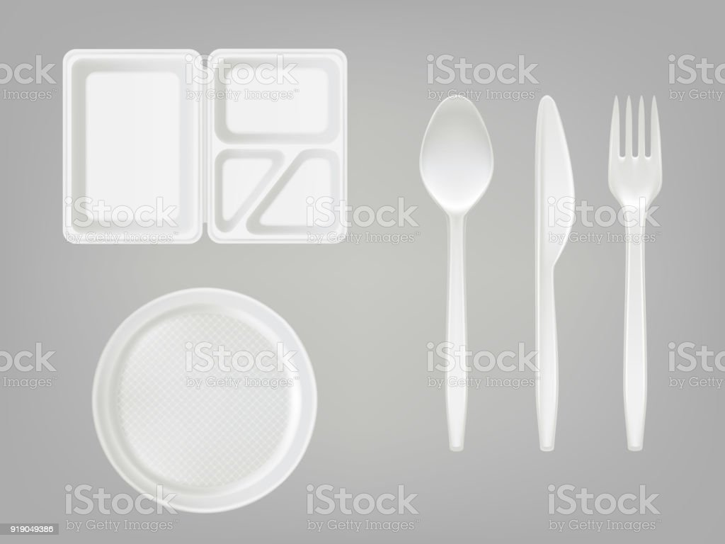 Vector 3d realistic disposable plastic lunch box, plate, spoon, fork, knife. Picnic tableware set on gray background. vector art illustration