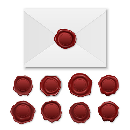 Vector 3d Realistic Envelope and Vintage Retro Stamp Wax Seal Icon Set Closeup Isolated on White Background. Design Template of Red Sealing Wax or Stamps, Labels for Certificate, Document, Letter