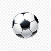 Vector 3d realistic football ball in black and white for soccer isolated on transparent background. Equipment and accessories for game. Sports and competition or entertainment theme.