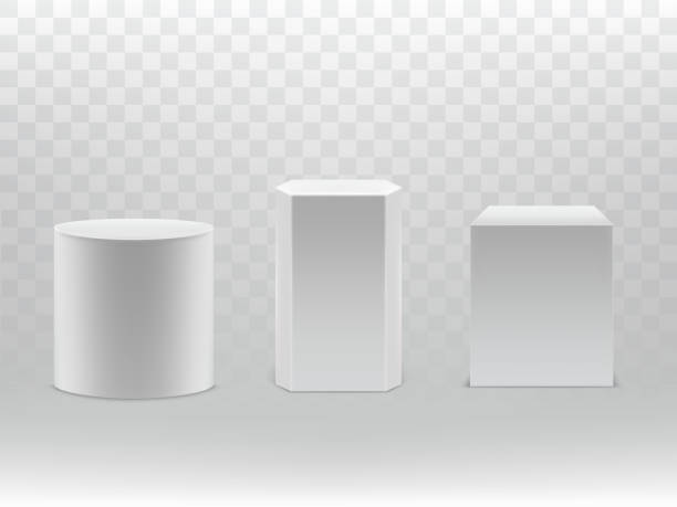 Vector 3d realistic geometrical shapes cylinder, cube Vector 3d realistic geometrical shapes isolated on transparent background. White cylinder, hexagon and cube with shadows. Design elements, great for podium, pedestal or as basic packaging. cylinder stock illustrations