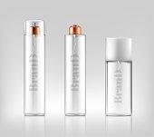 Vector 3d realistic glass sprays, dispensers, bottles