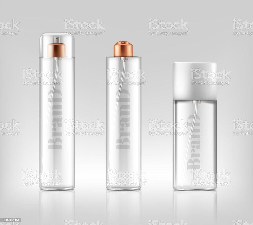 Vector 3d realistic glass sprays, dispensers, bottles vector art illustration
