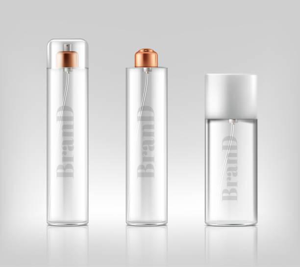 illustrazioni stock, clip art, cartoni animati e icone di tendenza di vector 3d realistic glass sprays, dispensers, bottles - profumi spray