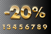 Discount shopping realistic golden numbers. 3D vector set of numbers gold metallic with glitter. Golden sale 20 percent off on transparent background. Advertising sale, promotion and discount in store