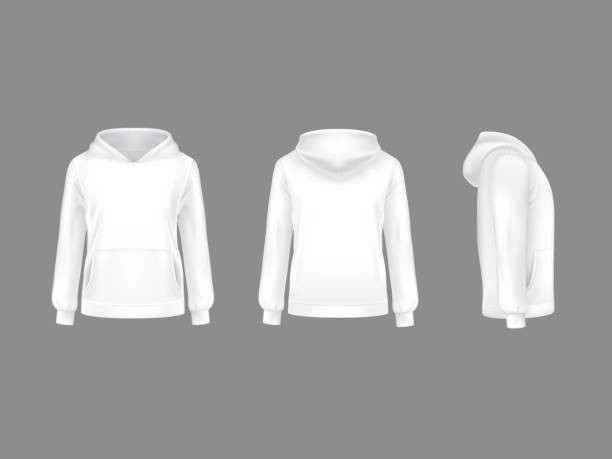 Vector 3d realistic hoodie sweatshirt white mockup Vector hoodie sweatshirt white 3d realistic mockup template. Fashion long sleeve clothing hooded pullover front side back view. Illustration grey background. Woman man unisex cotton apparel sportswear hot pockets stock illustrations
