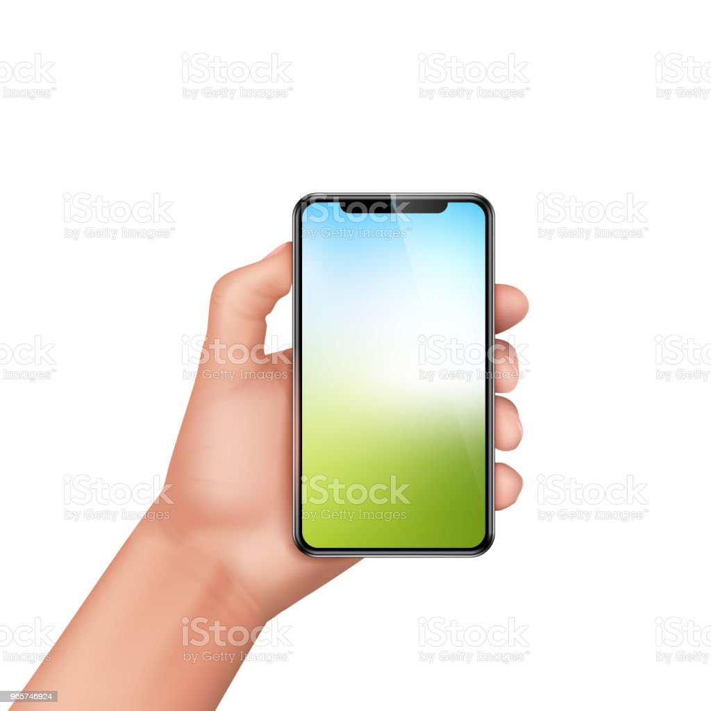 Vector 3d realistic human hand holding smartphone Vector 3d realistic human hand holding smartphone. Template, mock up for mobile app or advertisment. Screen of electronic device, smart phone for sale poster, banner. Arm stock vector