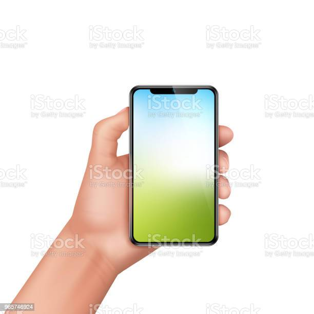Vector 3d Realistic Human Hand Holding Smartphone Stock Illustration - Download Image Now