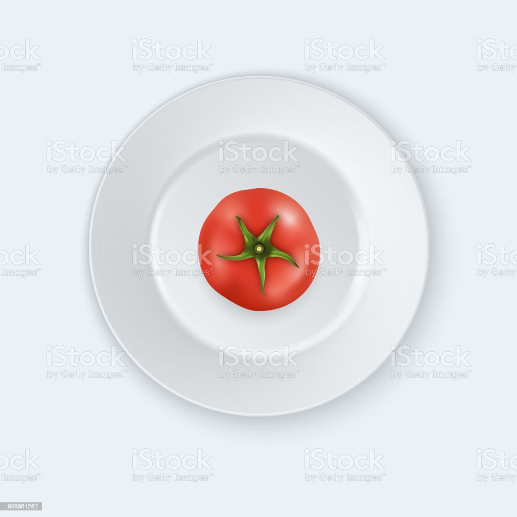 Vector 3d Realistic Juicy Tomato In A White Porcelain Plate Icon ...