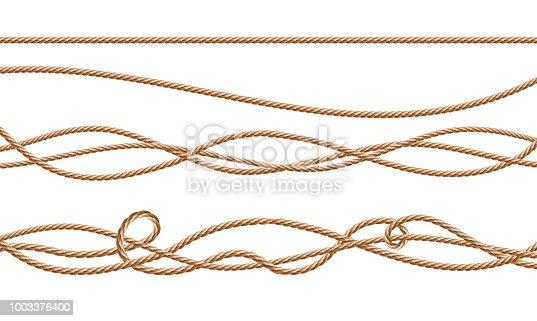istock Vector 3d realistic jute, hemp, fiber ropes 1003376400