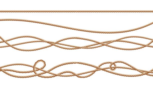 stockillustraties, clipart, cartoons en iconen met vector 3d-realistische jute, hennep, vezel touwen - touw