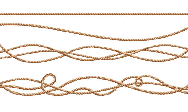 vector 3d realistic jute, hemp, fiber ropes - sznurek stock illustrations