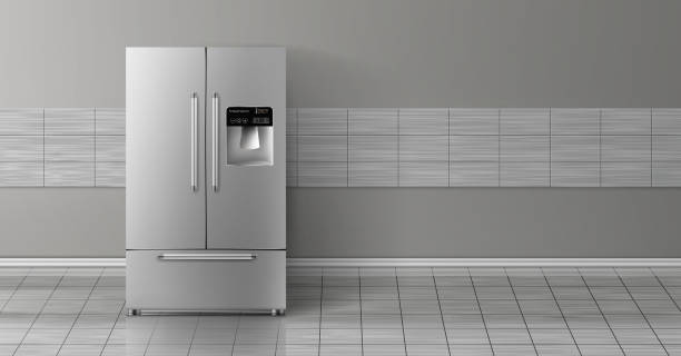 Vector 3d realistic mockup with two-chambered refrigerator Vector 3d realistic mock up with gray two-chambered refrigerator isolated on tile wall. Modern smart appliance in kitchen, background for design. Decorative template with fridge. refrigerator stock illustrations