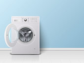 Vector 3d Realistic Modern White Steel Opened Washing Machine Closeup. Design Template of Wacher. Front View, Laundry Concept.