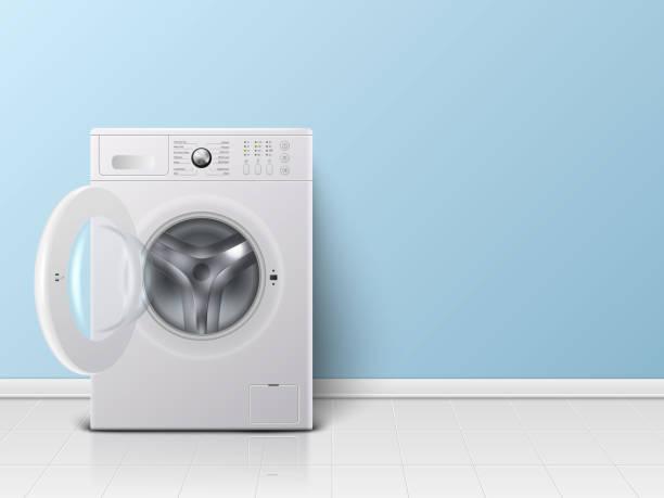 stockillustraties, clipart, cartoons en iconen met vector 3d realistisch modern wit staal opende wasmachine close-up. ontwerpsjabloon van wacher. vooraanzicht, wasserij concept - opslagruimte