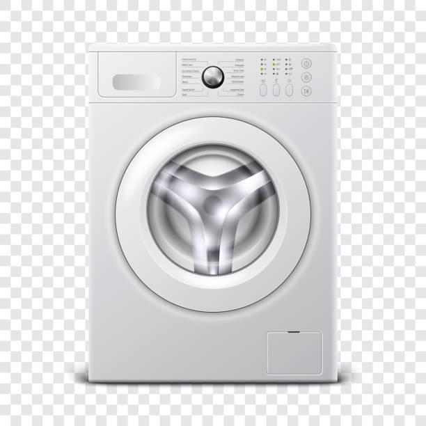 vektor 3d realistische moderne weiße stahl waschmaschine icon closeup isoliert auf transparentem hintergrund. design-vorlage von wacher. frontansicht, wäschekonzept - waschmaschine stock-grafiken, -clipart, -cartoons und -symbole