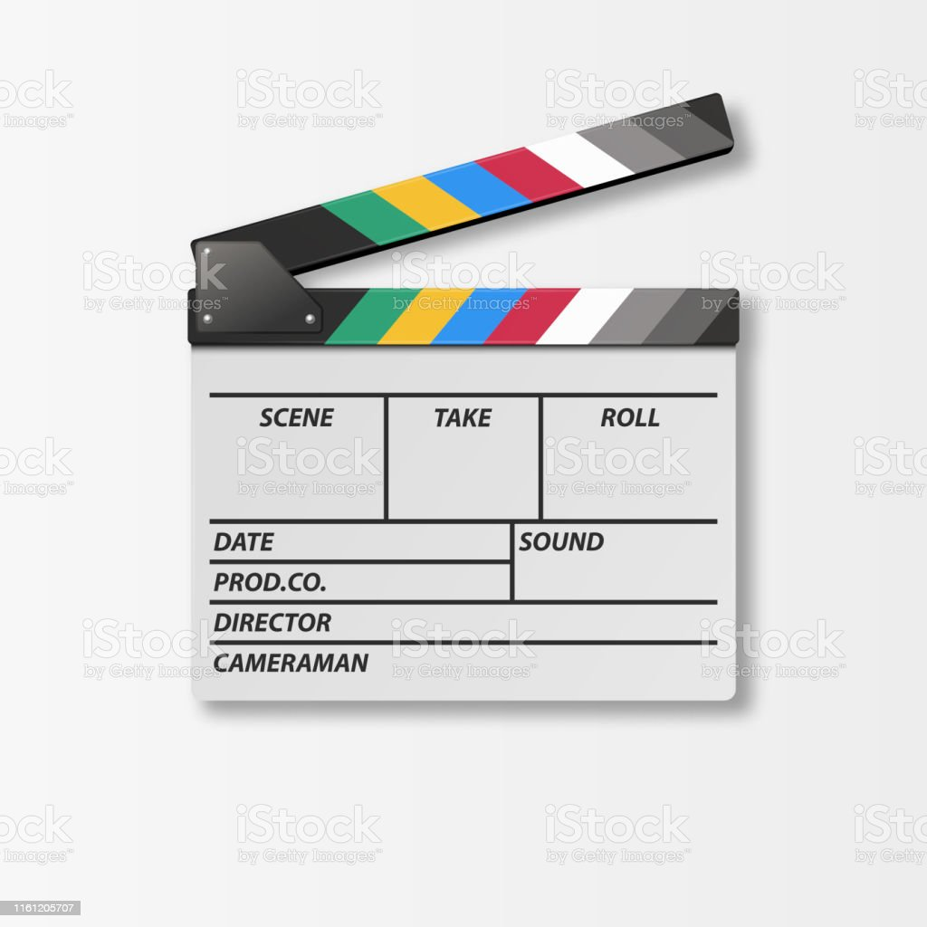 Vector 3d Realistic Opened Movie Film Clap Board Icon Closeup...