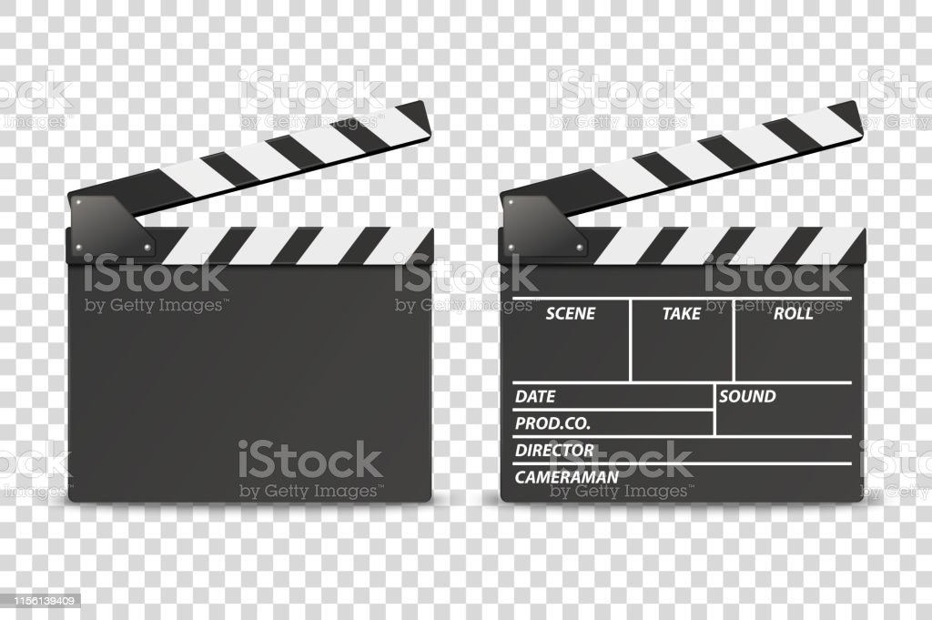 Vector 3d Realistic Opened Movie Film Clap Board Icon Set Closeup...