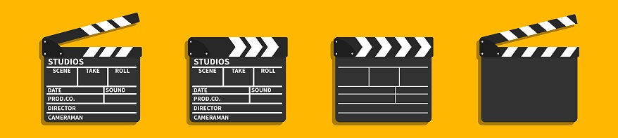 Vector 3d realistic opened movie film clap board icon set closeup on orange background, design template of clapperboard, slapstick, filmmaking device