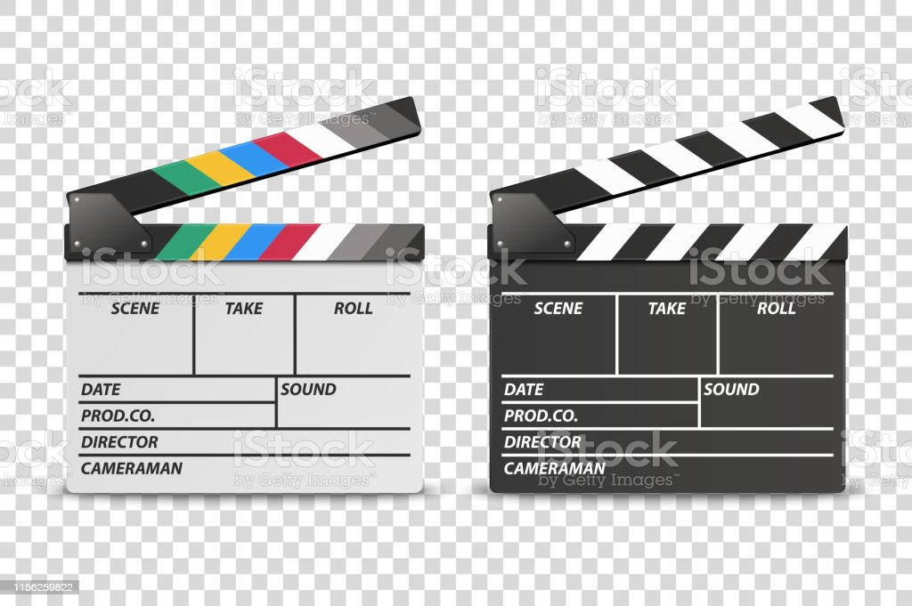 Vector 3d Realistic Opened White and Black Movie Film Clap Board Icon...