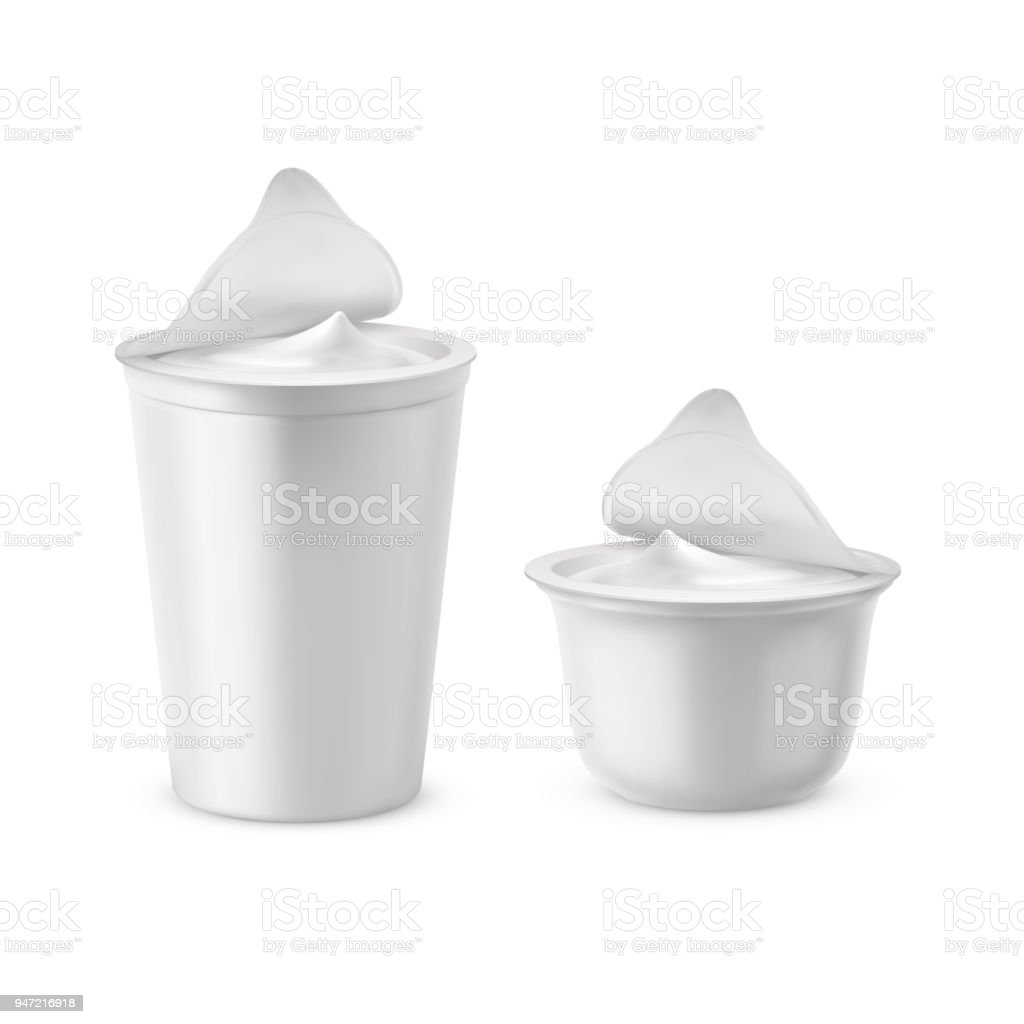 Vector 3d realistic plastic packages with yogurt vector art illustration