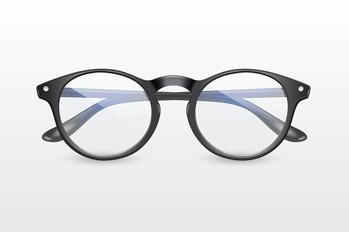Vector 3d Realistic Plastic Round Black Rimmed Eye Glasses Icon Closeup Isolated on White Background. Women, Men, Unisex Accessory. Optics, Health Concept. Design Template, Mockup. Front View