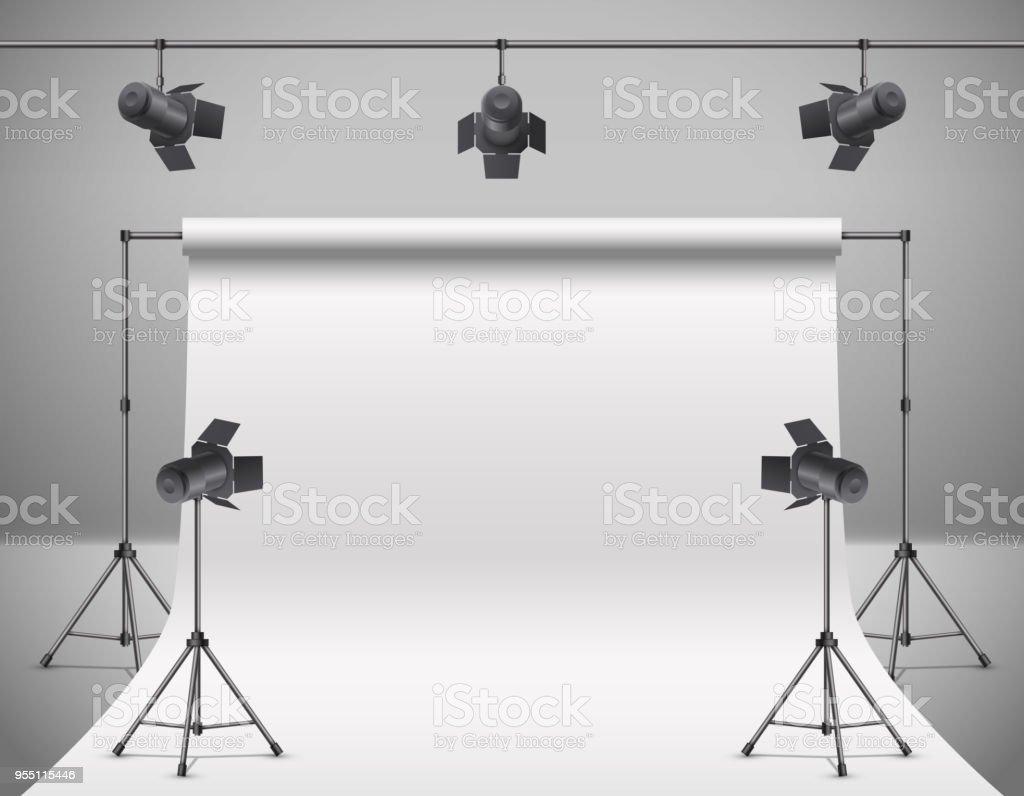 Vector 3d realistic professional photo, video studio векторная иллюстрация
