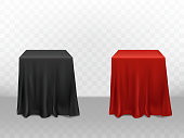 Vector 3d realistic red and black silk tablecloth. Empty furniture isolated on transparent background for ad poster, banner. Template, mock up. Design element for decoration, front view.