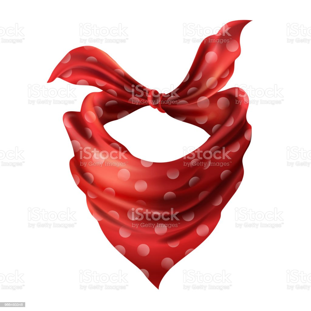 Vector 3d realistic red neck scarf, neckerchief vector art illustration