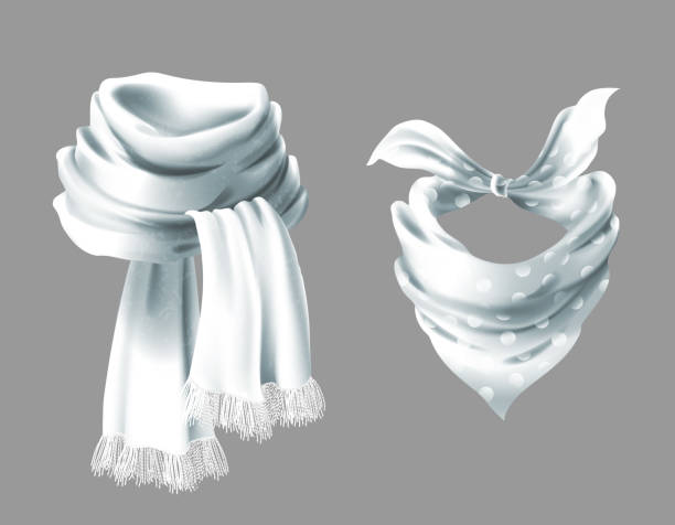 Vector 3d realistic red neck scarf, neckerchief Vector 3d realistic silk white scarf. Fabric cloth of dotted neckerchief. Gray in white peas bandana, outerwear of western cowboy. Unisex accessory isolated on background neck stock illustrations