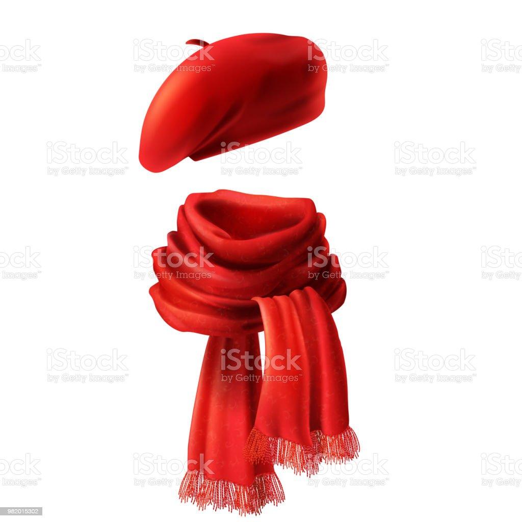 Vecteur 3d réaliste écharpe rouge et béret vecteur 3d réaliste écharpe  rouge et béret – cliparts 920ce7bc900