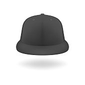 Vector 3d Realistic Render Black Blank Baseball Snapback Cap Icon Closeup Isolated on White Background. Design Template for Mock-up, Branding, Advertise. Front View.