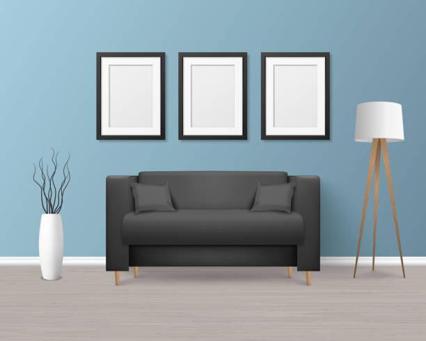 ベクトル3dリアルレンダーブラックソファ、モダンルームでシンプルなスタイルの枕付きソファ - アパート、サロン、アートギャラリー、リビングルーム、レセプション、ラウンジやオフィ� - 美容室 3d点のイラスト素材/クリップアート素材/マンガ素材/アイコン素材