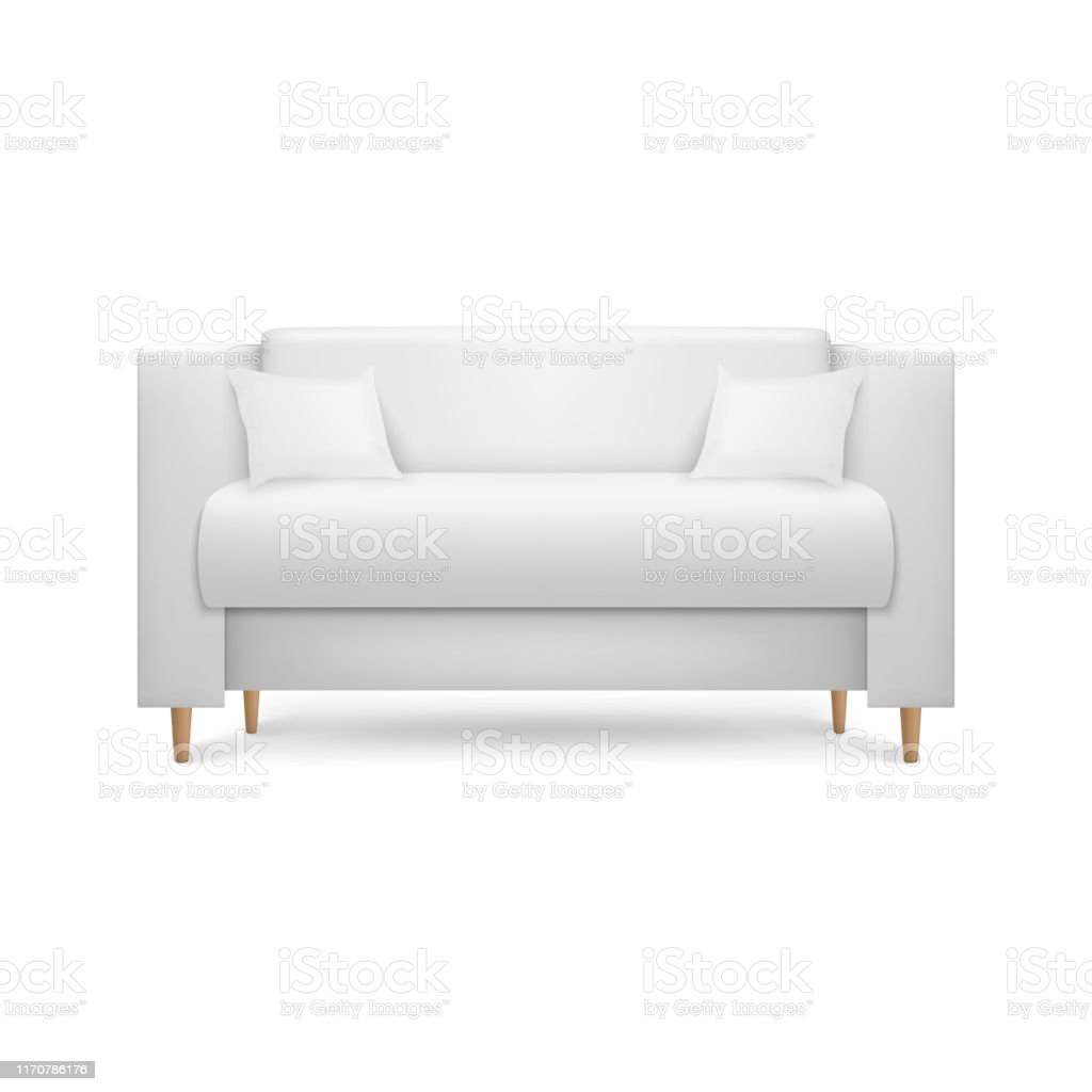 Vector 46d Realistic Render White Leather Luxury Office Sofa Couch With  Pillows In Simple Modern Style For Interior Design Living Room Reception Or