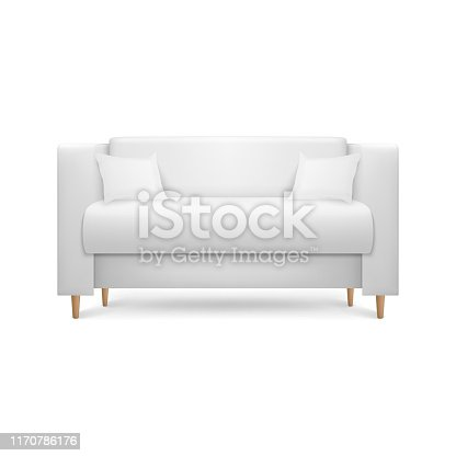 Vector 3d Realistic Render White Leather Luxury Office Sofa, Couch with Pillows in Simple Modern Style for Interior Design, Living Room, Reception or Lounge. Closeup Isolated on White Background.