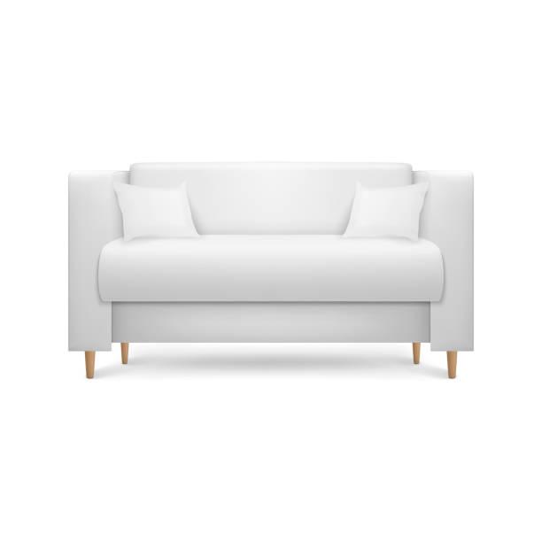 ベクトル3dリアルレンダーホワイトレザーラグジュアリーオフィスソファ、インテリアデザイン、リビングルーム、レセプションやラウンジのためのシンプルなモダンなスタイルの枕付きソ� - ソファ点のイラスト素材/クリップアート素材/マンガ素材/アイコン素材