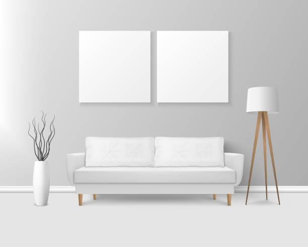 ベクトル3dリアルレンダーホワイトソファ、モダンルームでシンプルなスタイルの枕付きソファ - アパート、サロン、アートギャラリー、リビングルーム、レセプション、ラウンジやオフィ� - 美容室 3d点のイラスト素材/クリップアート素材/マンガ素材/アイコン素材