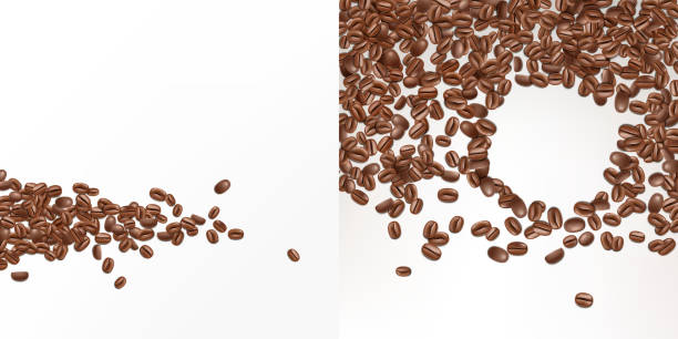 vector 3d realistic seeds of coffee, beans - ziarno kawy palonej stock illustrations