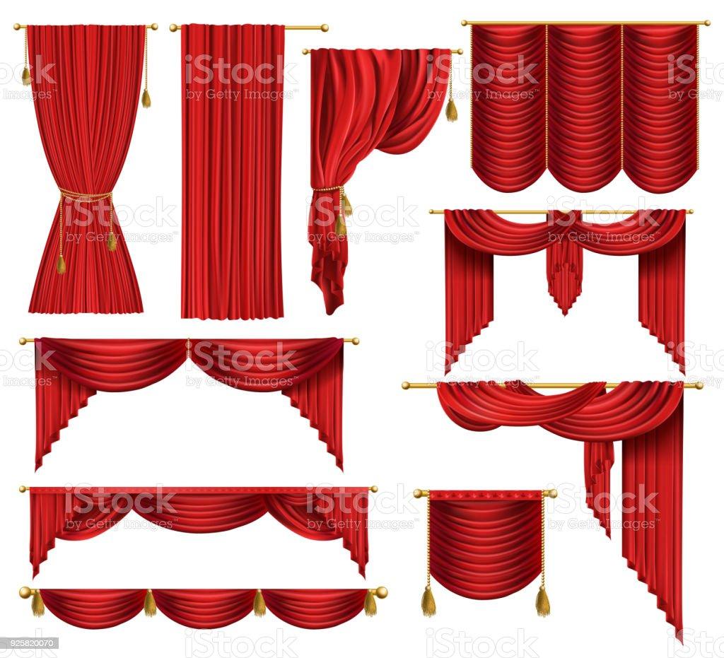 Vecteur 3d réaliste jeu de rideaux de luxe rouge vecteur 3d réaliste jeu de rideaux de luxe rouge vecteurs libres de droits et plus d'images vectorielles de affiche libre de droits
