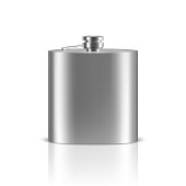 Vector 3d Realistic Silver Blank Stainless Steel Hip Flask Closeup Isolated on White Background. Design Template of Alcohol Travel Container for Mock up, Package, Advertising, Logo etc. Front View.