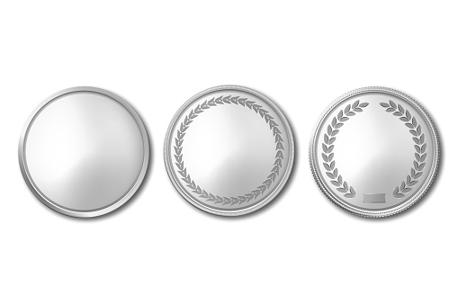Vector 3d Realistic Silver Metal Blank Coin Icon Set Closeup Isolated on White Background. Design Template, Clipart of Gold Money, Medal, Currensy for Mockup. Financial, Business Concept. Top View