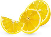 Vector 3d realistic sliced lemon. Isolated sliced lemon on white backgrpund. Citrus halves.