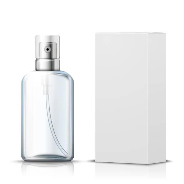 illustrazioni stock, clip art, cartoni animati e icone di tendenza di vector 3d realistic spray bottle with paper box - profumi spray