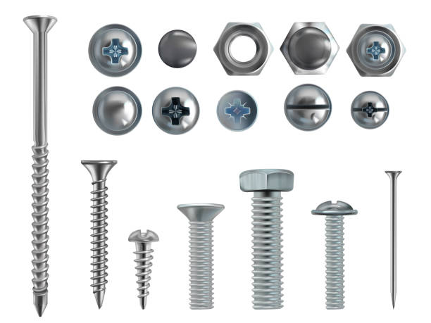 Vector 3d realistic steel bolts, nails, screws Vector 3d realistic illustration of stainless steel bolts, nails and screws on white background. Top and side view of industrial chrome hardware, different heads with nuts and washers nail work tool stock illustrations