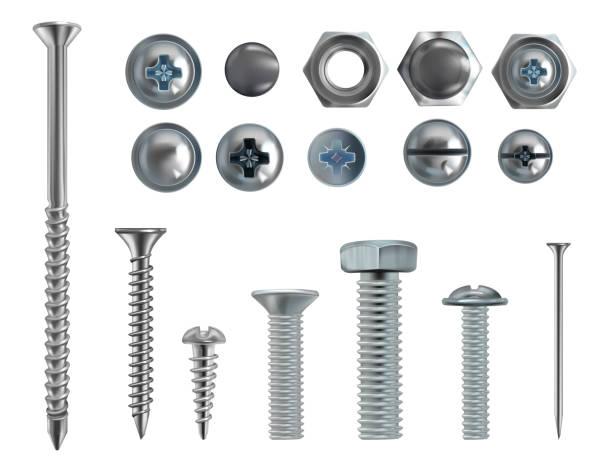 vector 3d realistic steel bolts, nails, screws - nuts stock illustrations