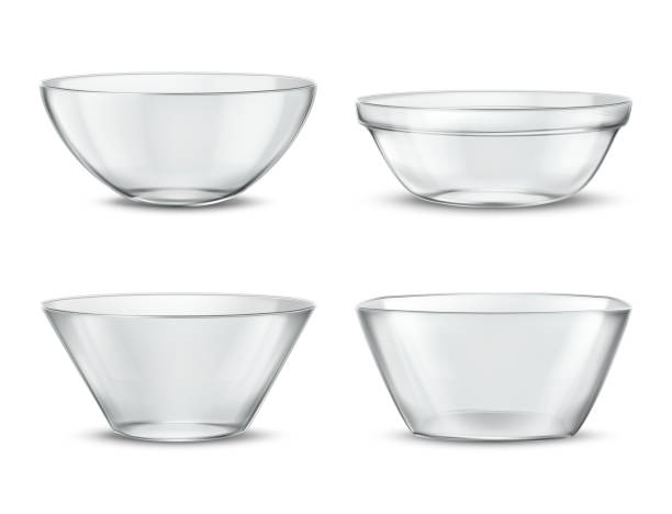 Vector 3d realistic transparent tableware, glass dishes Vector 3d realistic transparent tableware, glass dishes for different food. Containers with shadows, tureens and crystal glassware with reflections. Clear bowls, translucent ceramic. kitchenware department stock illustrations