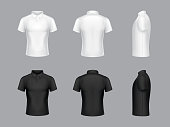 Vector 3d realistic white and black polo t-shirts