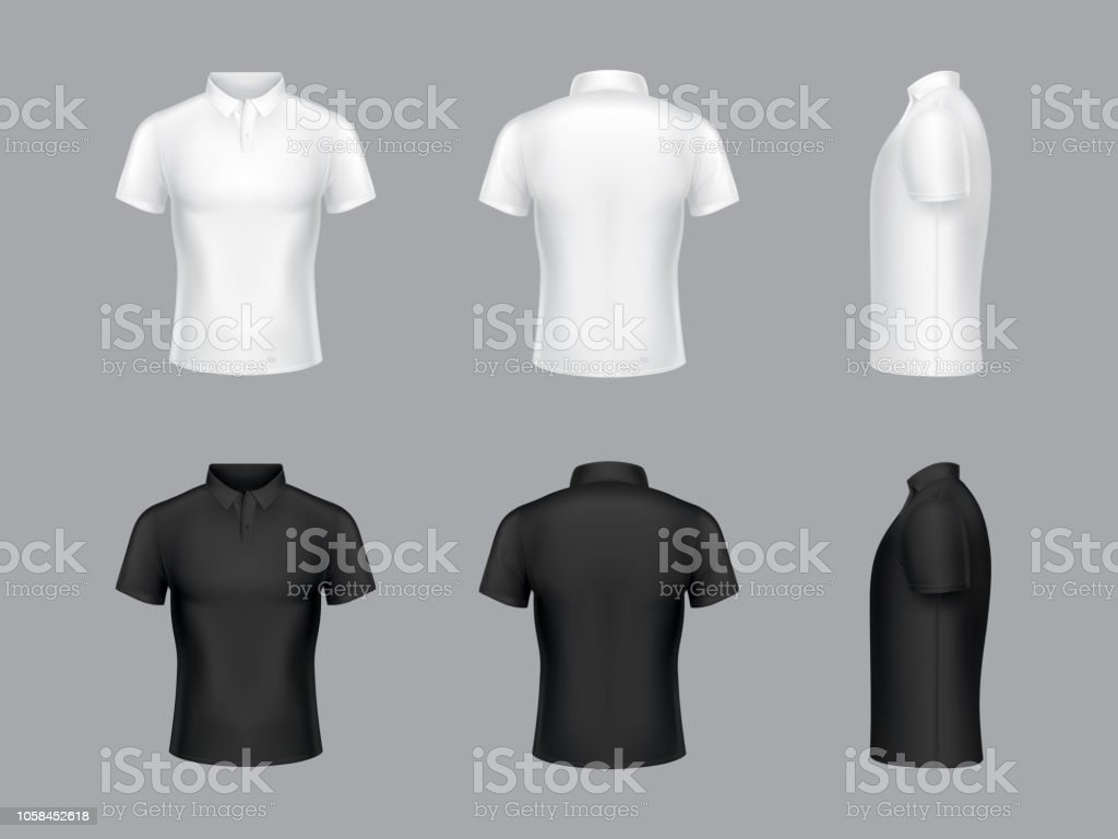 Vector 3d realistic white and black polo t-shirts vector art illustration