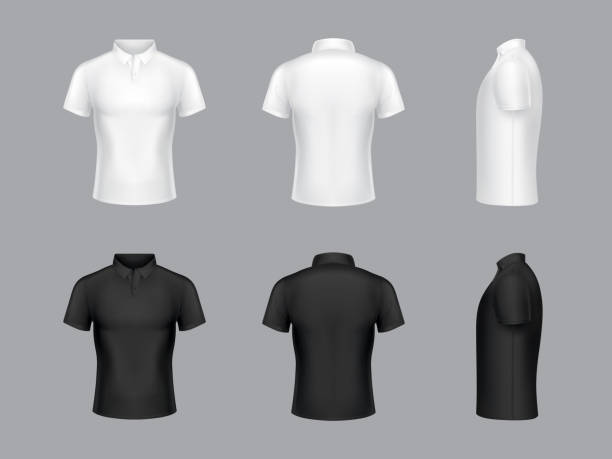 vector 3d realistic white and black polo t-shirts - białoruś stock illustrations