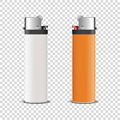 Vector 3d Realistic White and Orange Blank Cigarette Lighter Icon Set Closeup Isolated on Transparent Background. Design Template for Advertising, Mockup, Corporate Identity. Front View.