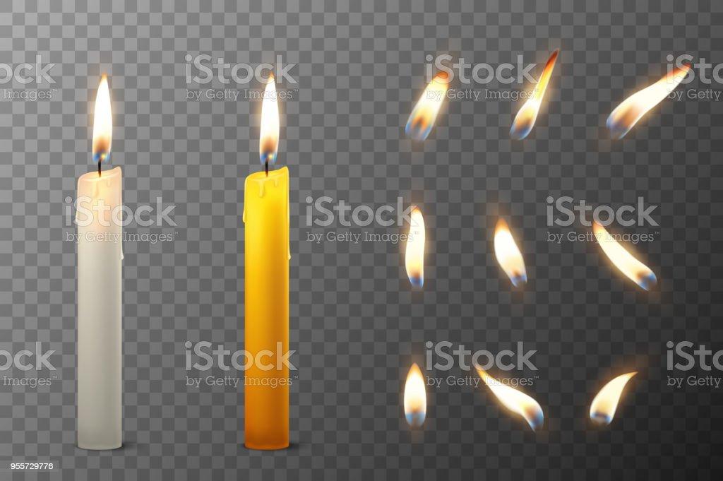 Vektor 3d realistiska vit och orange paraffin eller vax brinnande part ljus och olika lågan av en ljus ikonen uppsättning närbild isolerade på öppenhet rutnät bakgrund. Formgivningsmall, clipart för grafik - Royaltyfri Antända vektorgrafik